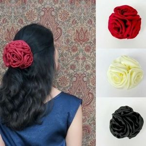 Accessories - Large Fascinator Rose Hair Clip - Red Satin - NWT